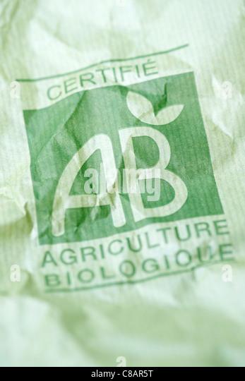 Organic farming paper bag - Stock Image