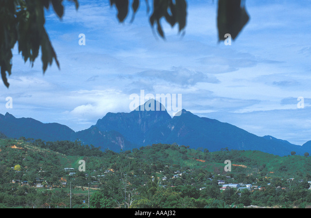 Honduras Pico Bonito National Park Pico Bonito Peak mountain silhouettes silo with two peaks - Stock Image
