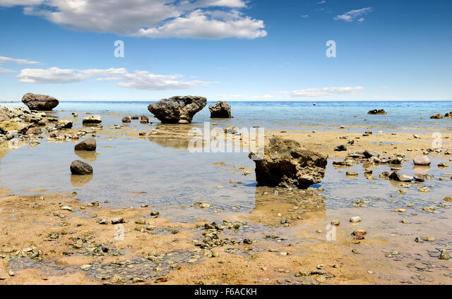 Low water on beach of the Red sea - Stock Image