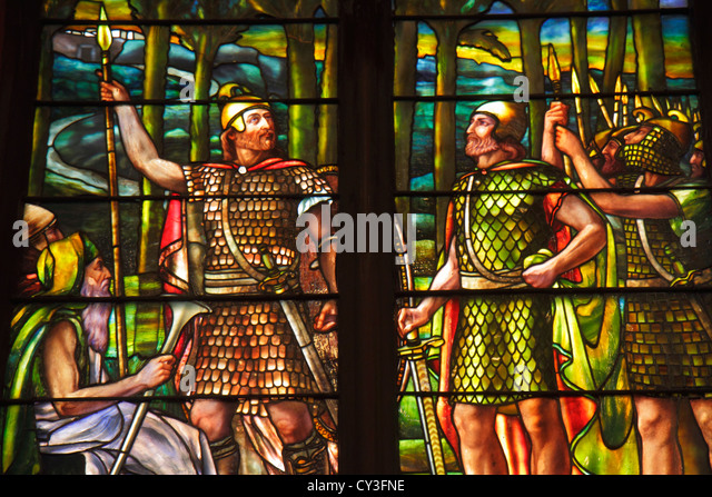 Boston Massachusetts Back Bay Newbury Street Church of the Covenant interior stained glass window religious art - Stock Image