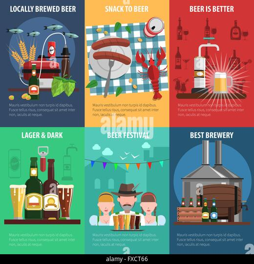 Beer Poster Set - Stock Image