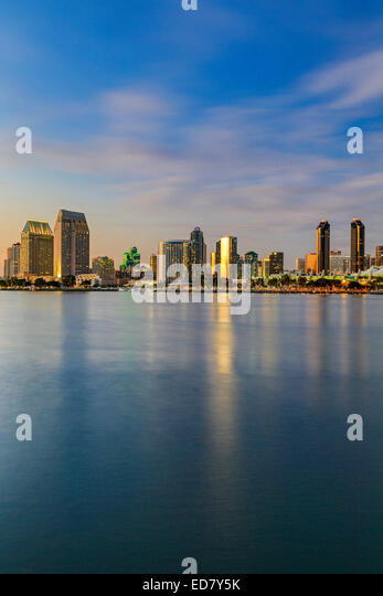Skyline and San Diego Bay, San Diego, California USA - Stock Image