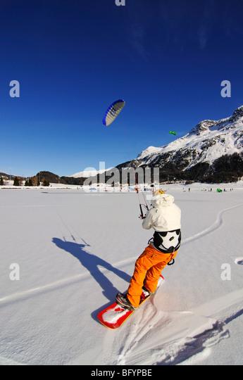 Snowkiting, Lake Silvaplana, St. Moritz, canton of Grisons, Switzerland, Europe - Stock Image