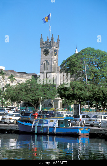 Barbados Bridgetown Parliament Careenage flying fish boats - Stock Image