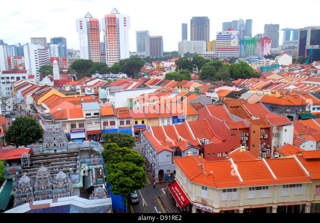 Singapore Little India aerial Sri Veeramakaliamman Temple Hindu two-story storey shophouses shophouse red clay tile - Stock Image