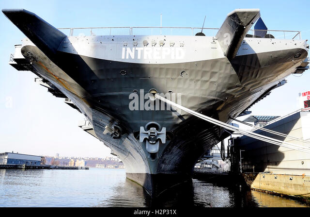 Aircraft carrier USS Intrepid Sea, Air & Space Museum located on the West side of Manhattan on Pier 86, 12th - Stock Image