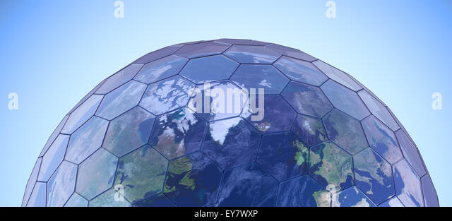 Earth globe covered with hexagonal glass panels - green house effect conceptual illustration - Stock Image