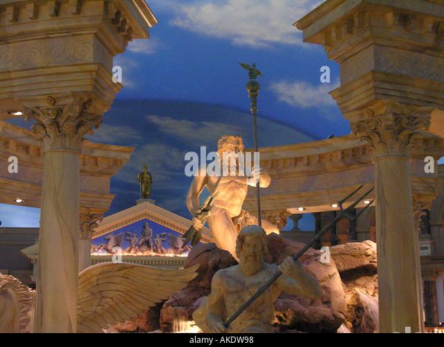 Las Vegas Nevada Las Vegas strip Caesars Palace Forum Shops roman temple blue sky - Stock Image