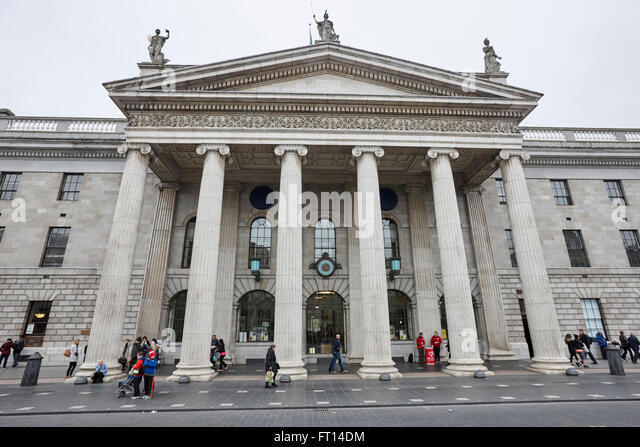 front facade of the general post office gpo site of the 1916 easter rebellion dublin Ireland - Stock Image