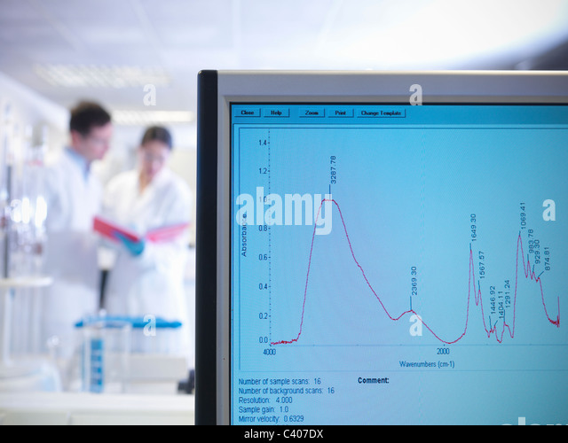 Scientists and monitor in laboratory - Stock Image