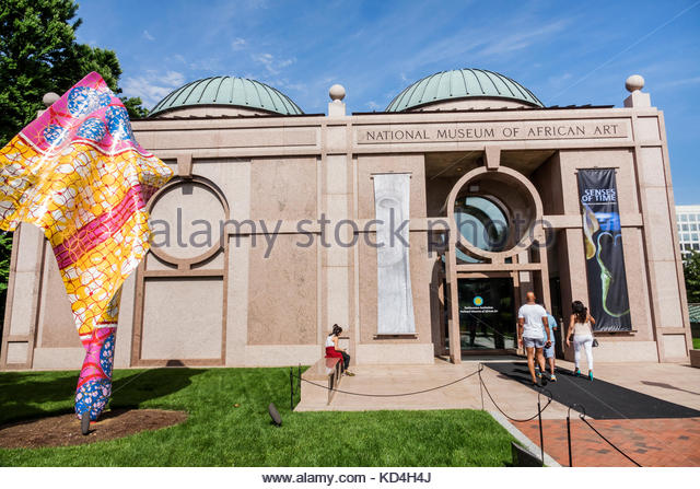 Washington DC District of Columbia National Mall National Museum of African Art entrance facade exterior sculpture - Stock Image