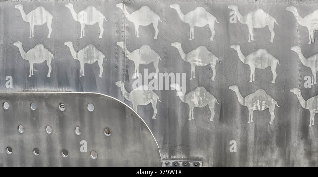 Camels on the side of a military aircraft fuselage from the Gulf War. - Stock Image