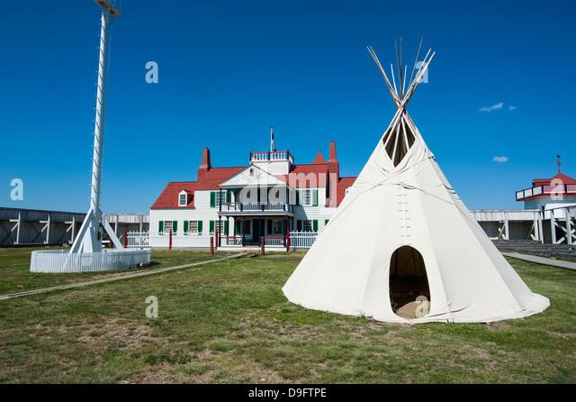Indian wigwam in Fort Union, North Dakota, USA - Stock Image