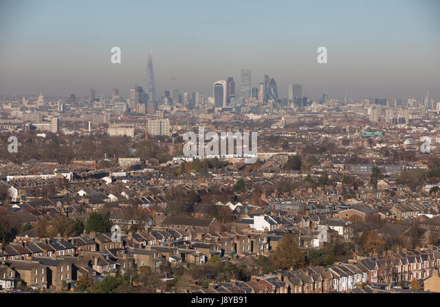 London view looking north with City of London in background.  Smog pollution high day - Stock Image