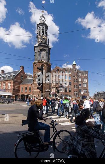 Amsterdam Munplein bicycles pedestrians - Stock Image