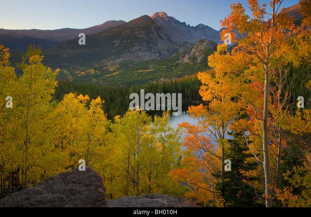 Autumn colors at Bear Lake, Rocky Mountain National Park, Colorado. - Stock Image