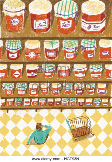 Man in supermarket confused and overwhelmed by choice of jam - Stock-Bilder