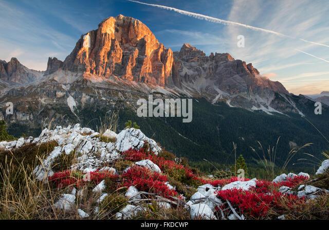 first light on Tofana de Rozes from Cinque Torri, Dolomite Mountains,  Belluno Province, Veneto, Italy - Stock Image