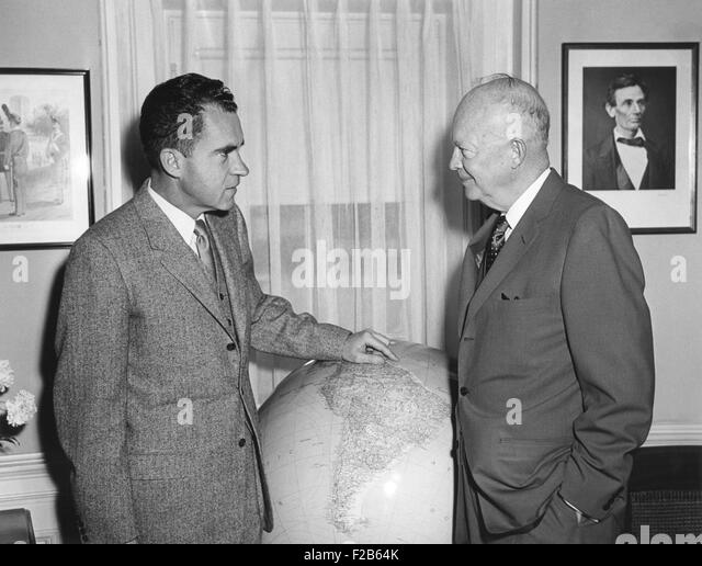 President Eisenhower meeting with VP Richard Nixon prior to his South American trip. April 25, 1958. - (BSLOC_2014 - Stock Image