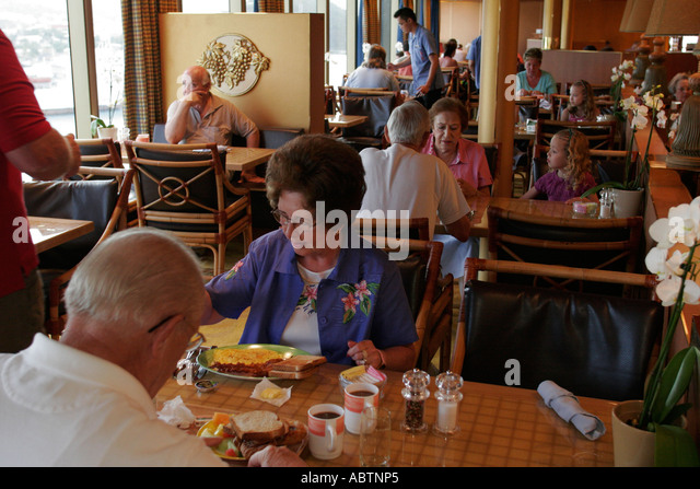 St. Thomas USVI Holland America Line ms Noordam Lido Restaurant passengers breakfast - Stock Image