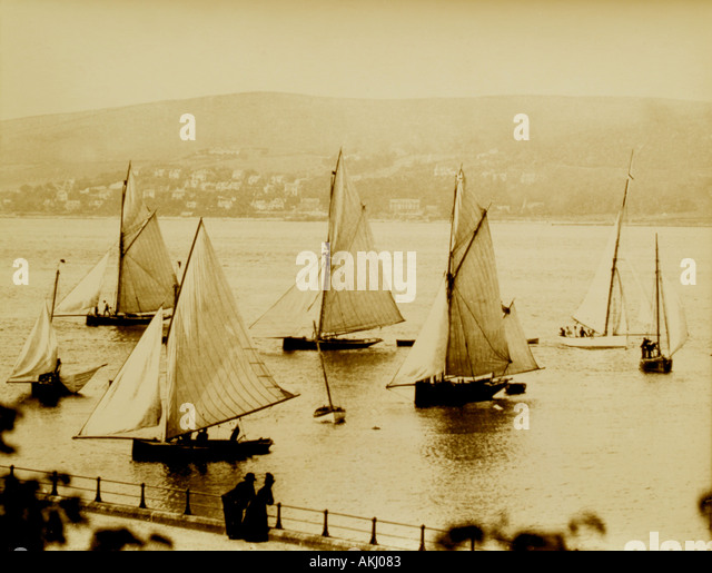 UK Scotland Greenock Firth of Clyde sailing in the 1890 s off the Esplanade - Stock Image
