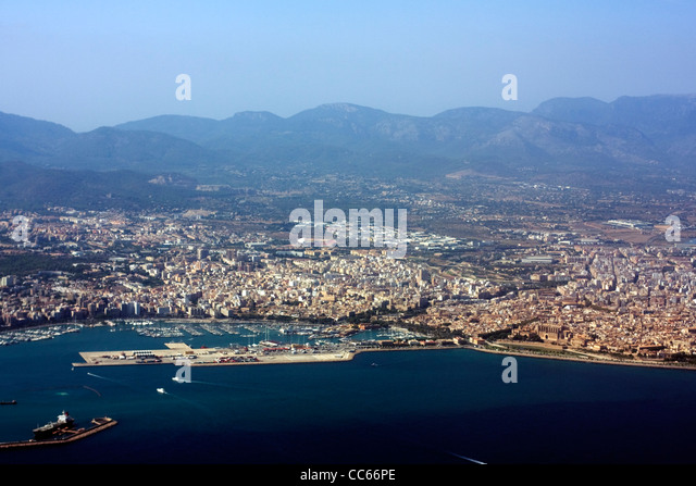 Aerial view of Palma, Majorca, Spain - Stock Image