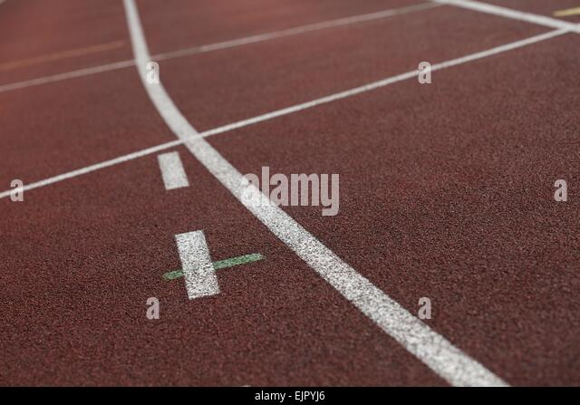 close up shot of an athletics track - Stock Image