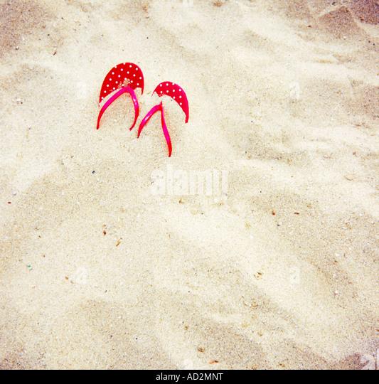 Sandals on the Beach - Stock-Bilder