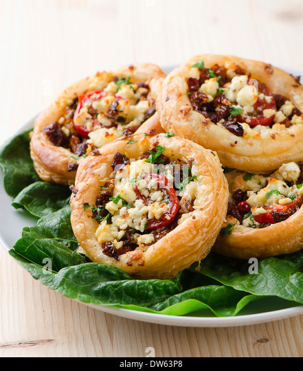 Tomato and cheese pastry tart - Stock Image