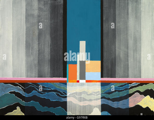 An abstract painting with a suggestion of a maritime theme - Stock Image