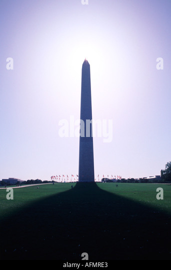 15079 Washington Monument Washington D C USA symbol historic capital vertical thin park siloutte - Stock Image