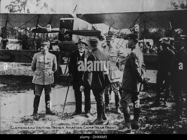 French Prime Minister Georges Clemenceau with Military Officers During Visit to French Aviation Camp, World War - Stock Image