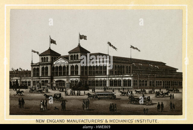 Antique 1883 monochromatic print from a souvenir album, showing the New England Manufacturers' & Mechanics' - Stock Image