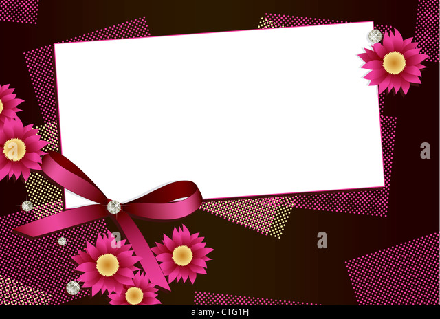 Gift card with flowers, diamonds and ribbon and copy space for your text - Stock Image