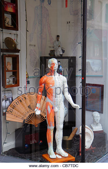 California San Francisco Chinatown Waverly Place storefront window display Traditional Chinese medicine alternative - Stock Image
