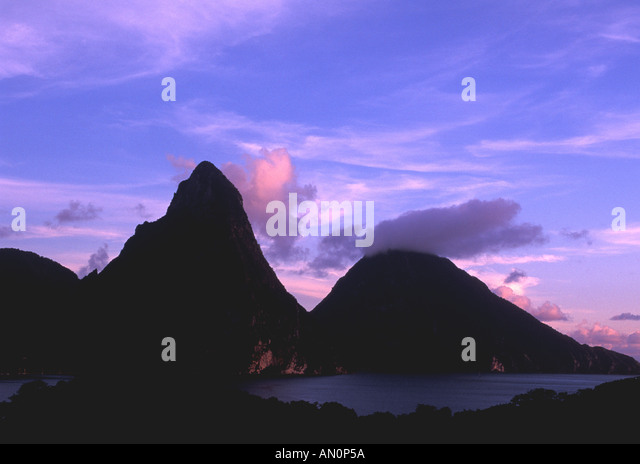 St Lucia West Indies Caribbean Pitons at Twilight - Stock Image