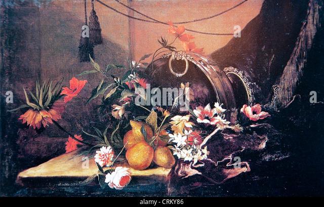 Jean-Baptiste Monnoyer – Still Life of Flowers and Fruits - Stock Image