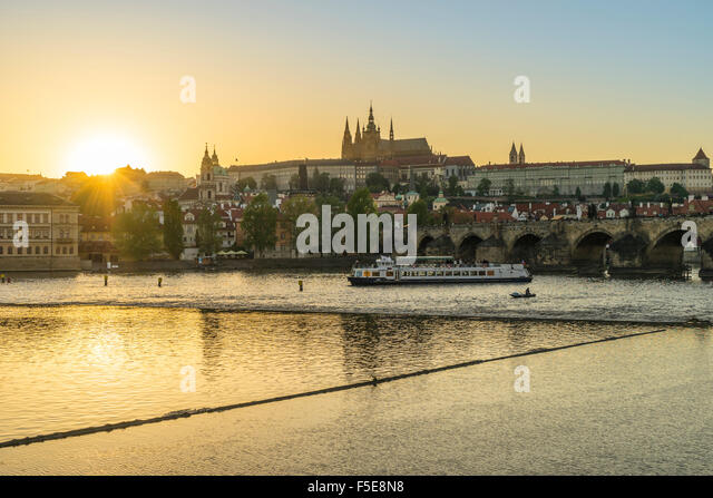Royal Palace and St. Vitus's Cathedral at sunset, Prague, Czech Republic, Europe - Stock Image