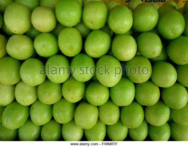 High Angle View Of Fresh Fruits For Sale At Market Stall - Stock Image