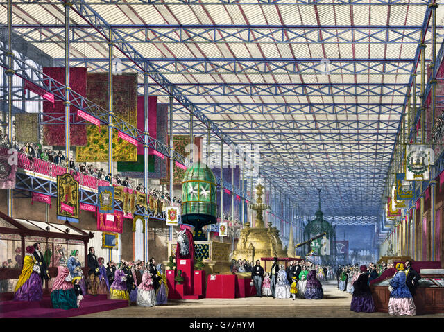Great Exhibition of 1851. The British Nave at The Great Exhibition of 1851, Crystal Palace, London, UK. - Stock Image