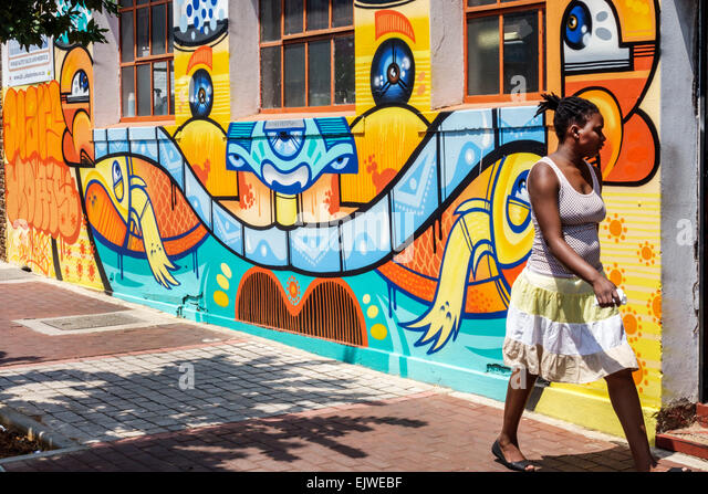 Johannesburg South Africa African Maboneng District Arts on Main Commissioner Street gentrified urban neighborhood - Stock Image