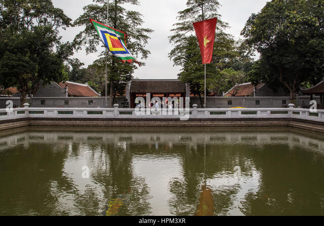 Temple of Literature Van Mieu is Confucian temple which was formerly a center of learning in Hanoi. It is Confucian - Stock Image
