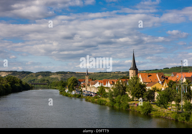 Lohr am Main in the Main valley, Franconia, Bavaria, Germany - Stock-Bilder