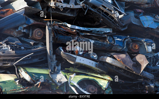 Queens Used Car Dealerships Close-up of pile of cars on scrapyard waiting for recycling - Stock ...