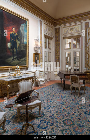 An ornate room in the National Palace of Queluz - Lisbon - Portugal. - Stock Image