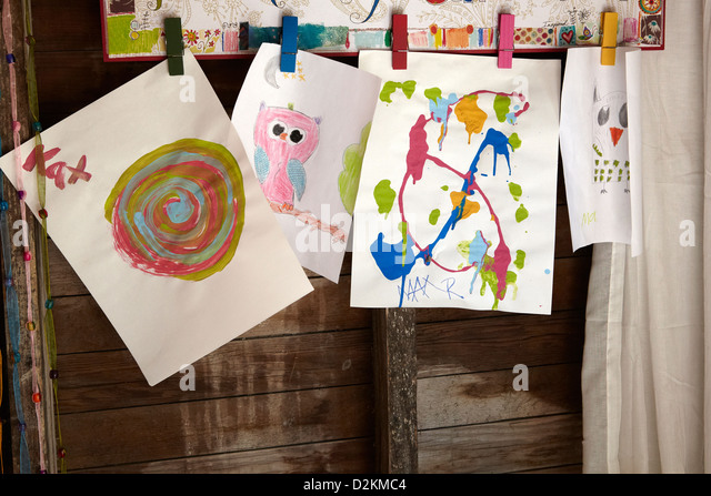 Children art work displayed - Stock Image