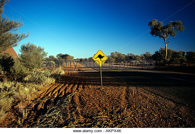 Kangaroo road sign - Stock Image