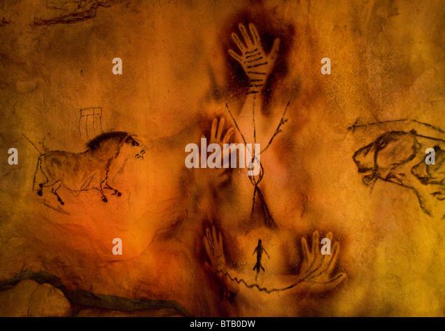 Artist rendering of cave paintings - Stock-Bilder