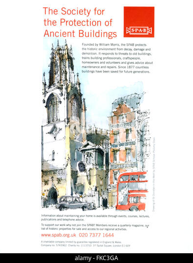2010s UK Society for the Protection of Ancient Buildings Magazine Advert - Stock Image