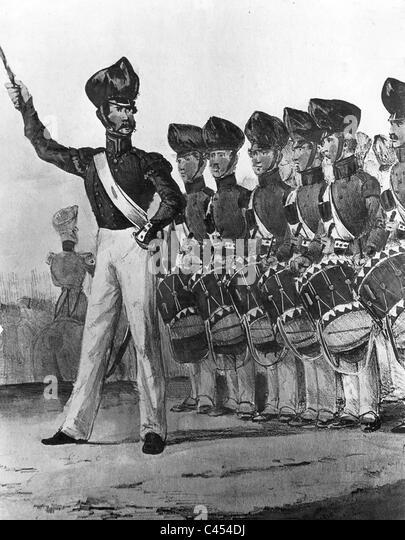 Prussian Military music corps, 1850 - Stock-Bilder